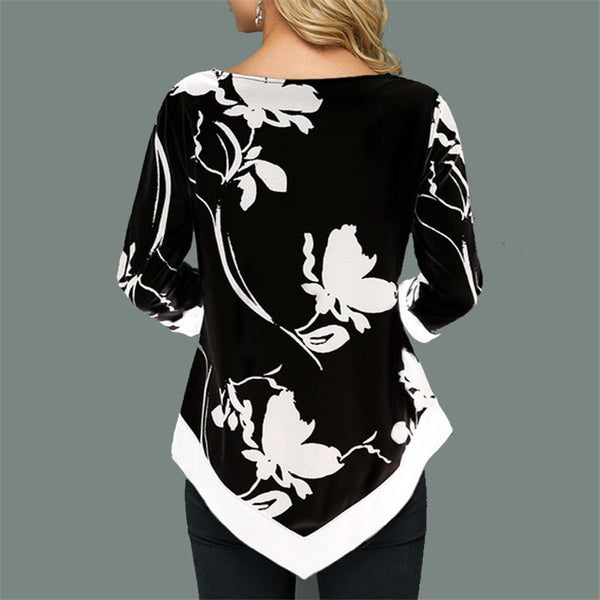 Women's Flowing Floral Print Irregular Hem Blouse