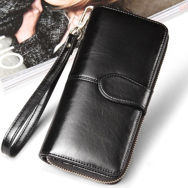 Women's Vintage Extra Long Leather Zipper Clutch