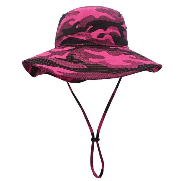 Unisex Cotton Wide Brim Camouflage Bucket Hat