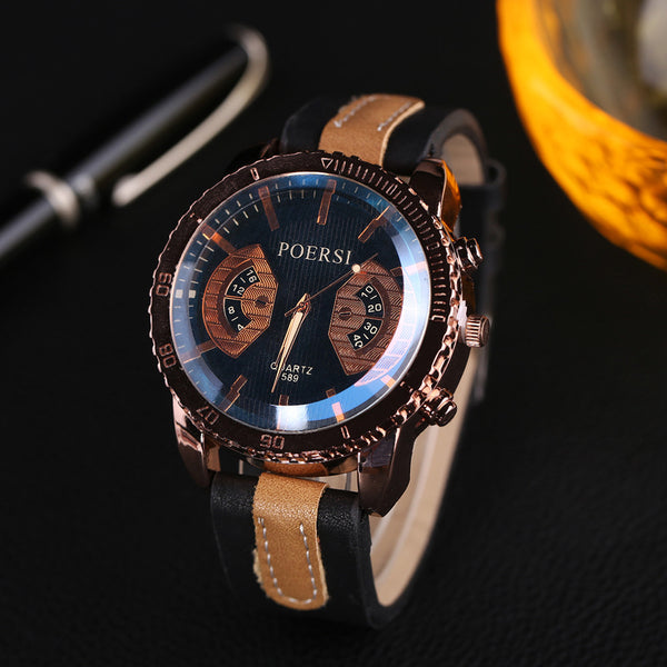 Men's Casual Leather Quartz Movement Wristwatch