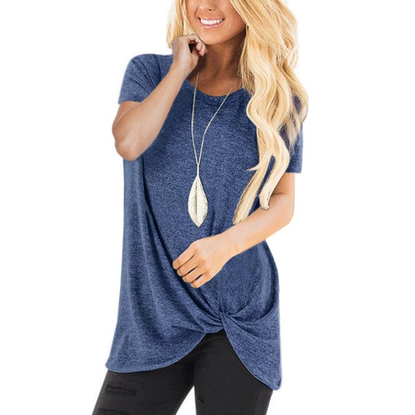 Women's Round Neck Short Sleeve Knotted Cotton Tee Shirt