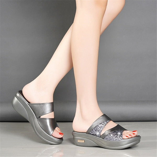 Women's Platform Wedge Crystal Embellished Sandals