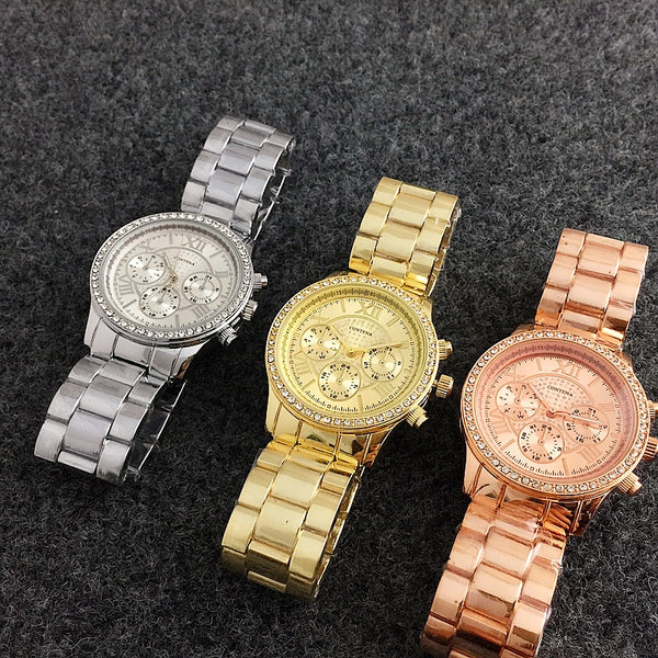 Women's Crystal and Stainless Steel Luxury Watch