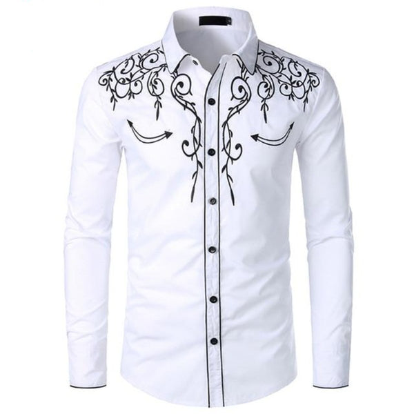 Men's Slim-Fit Western Style Button-Down Shirt