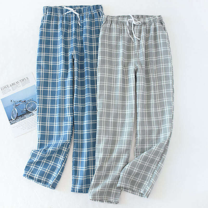 Men's Cotton Gauze Plaid Knitted Sleep Lounge Pajama Bottom Pants