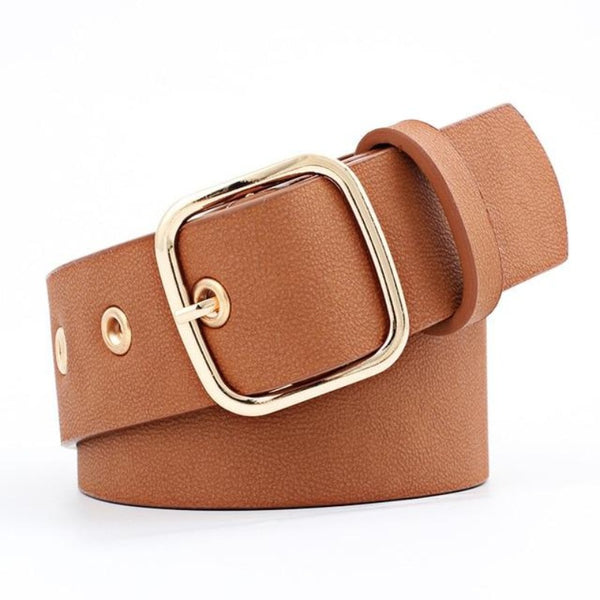 Women's Wide Luxury Belt With Metal Buckle