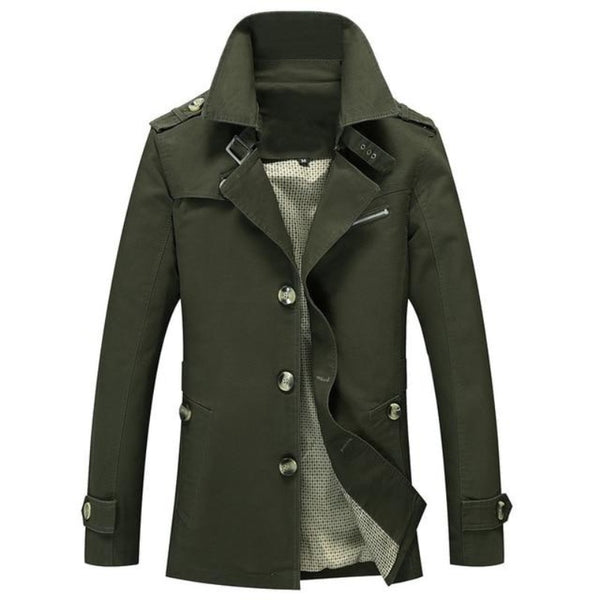 Men's Turn-Down Collar Trench Coat