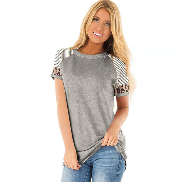 Women's Short Sleeve Leopard Accent T-Shirt