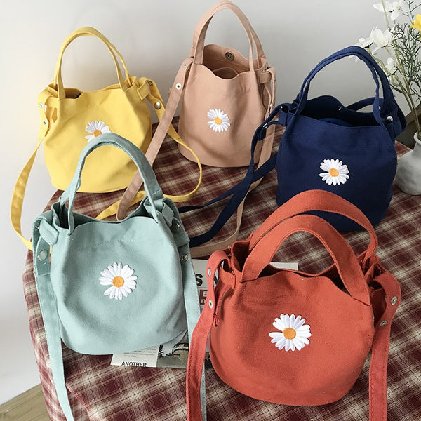 Women's Daisy Mini Canvas Shoulder Tote Bag