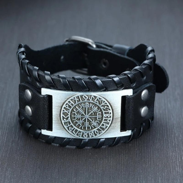 Men's Viking Leather Wrap Adjustable Bracelet