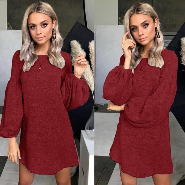 Women's Winter Loose Knitted Pullover Sweater Dress