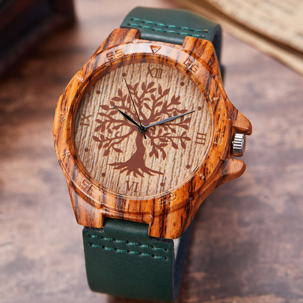 Men's Wood & Leather Quartz Wristwatch Green