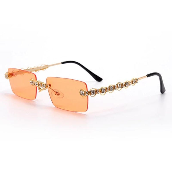 Women's UV400 Vintage Rimless Diamond Sunglasses
