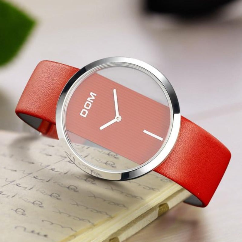 Women's Leather Waterproof Wristwatch