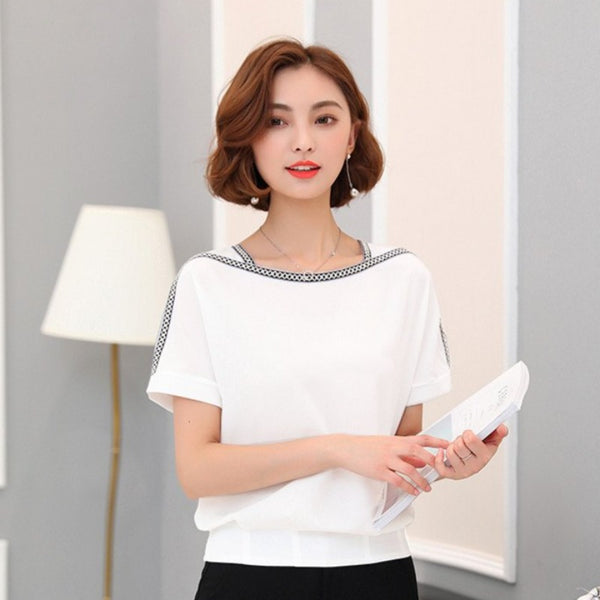 Women's Chiffon Short Sleeve Blouse