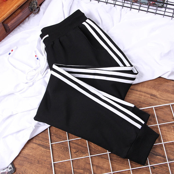 Loose Plus size Long Women's Leisure Pants Patchwork Striped Harem Pants Middle-waisted Drawstring Trousers female Sweatpants