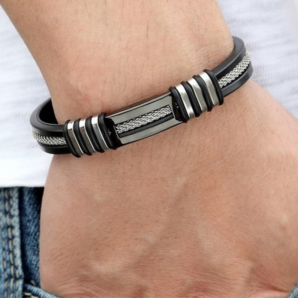 Men's Polished Stainless Steel and Silicone Bracelet