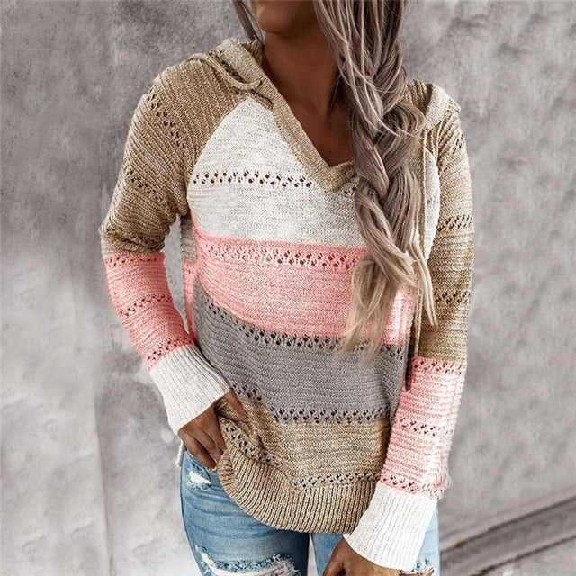 Women's Patchwork Loose Knit Hooded V-Neck Sweater