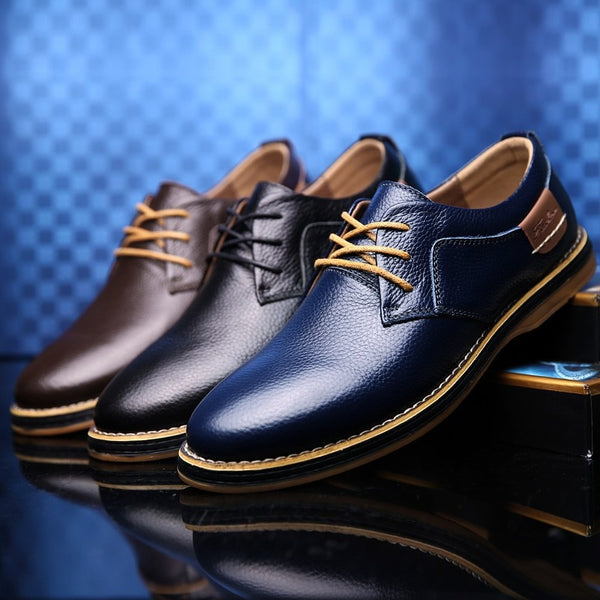 Men's Genuine Leather Lace-Up Dress Shoes