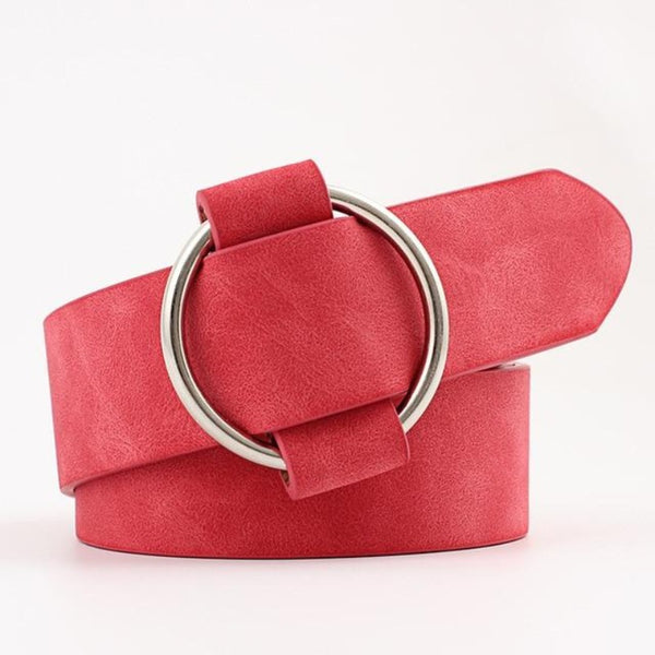 Women's Leather Round Metal Buckle Belt