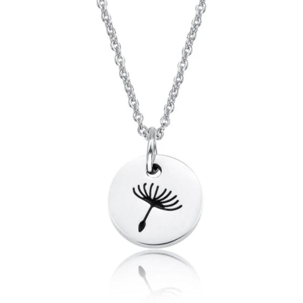 Women's Stainless Steel Dandelion Pendant Necklace