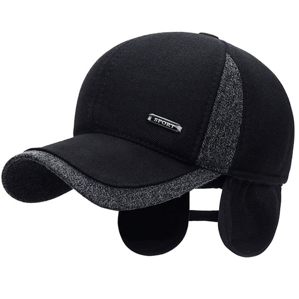 Men's Winter Wool Baseball Cap with Ear Flaps