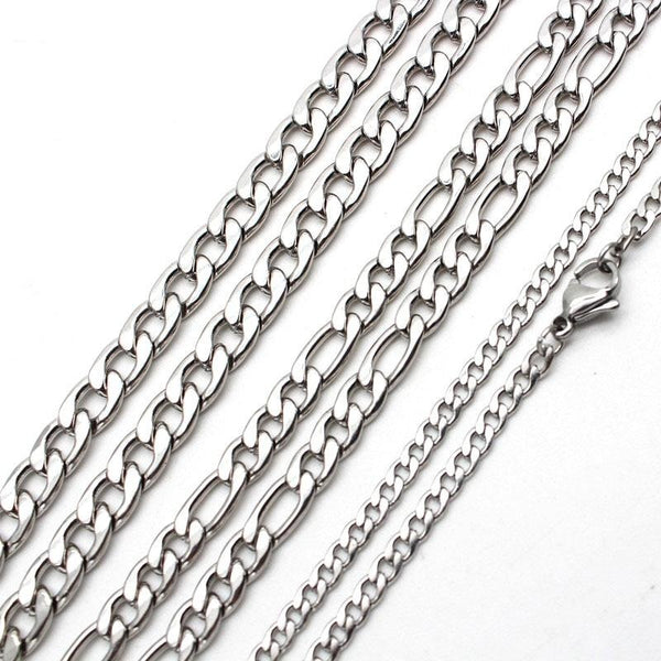 Men's Stainless Steel Figaro Link Chain Curb Necklace