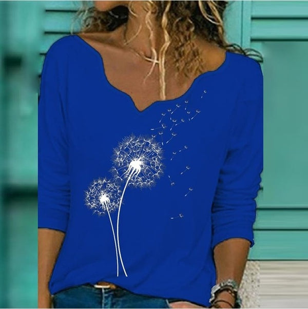Women's Elegant Flower V-Neck Top