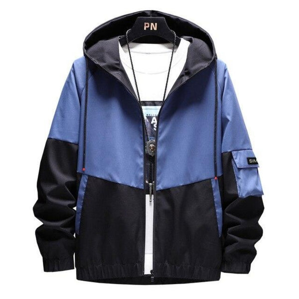 Men's Dual Color Hooded Bomber Jacket