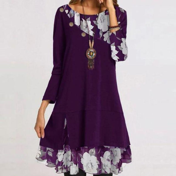 Women's Elegant Floral Print Long Sleeve Party Dress