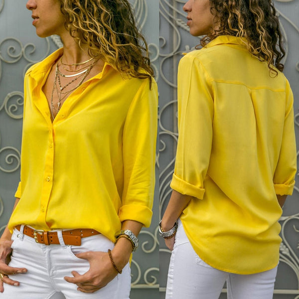 Women's Casual Long Sleeve Button-Down Blouse