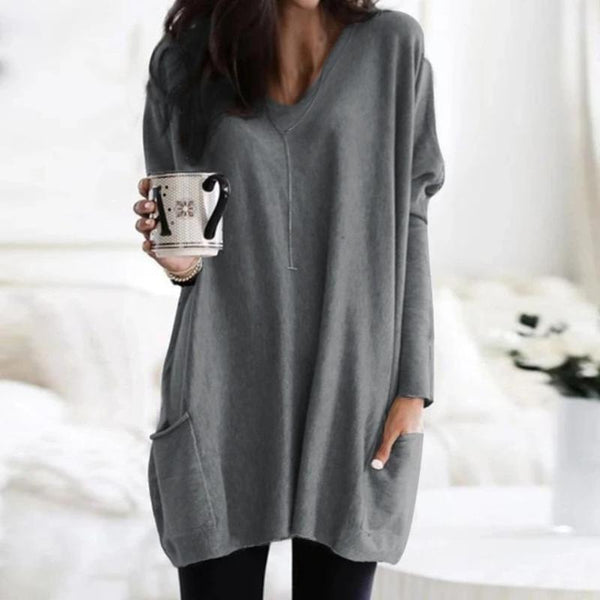 Women's Long Sleeve Pullover Sweater With Pockets