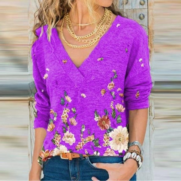 Women's Floral Cotton Deep V Neck Top