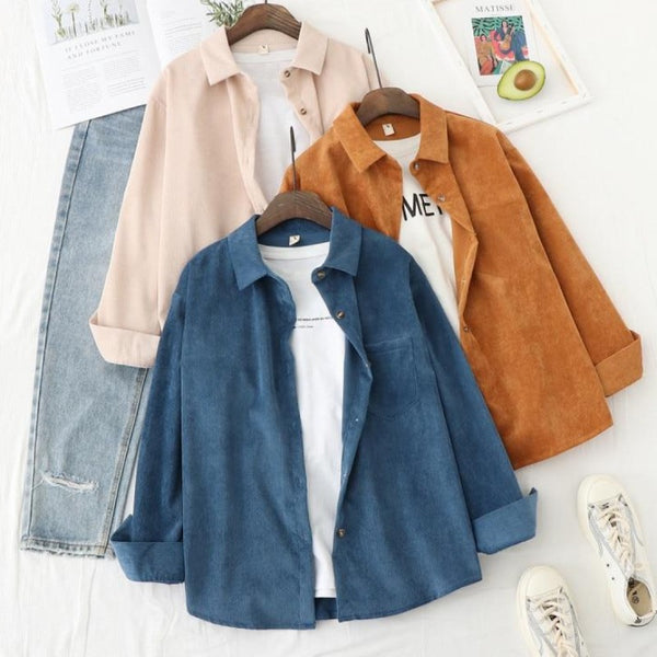 Women's Casual Long Sleeve Loose Corduroy Shirt