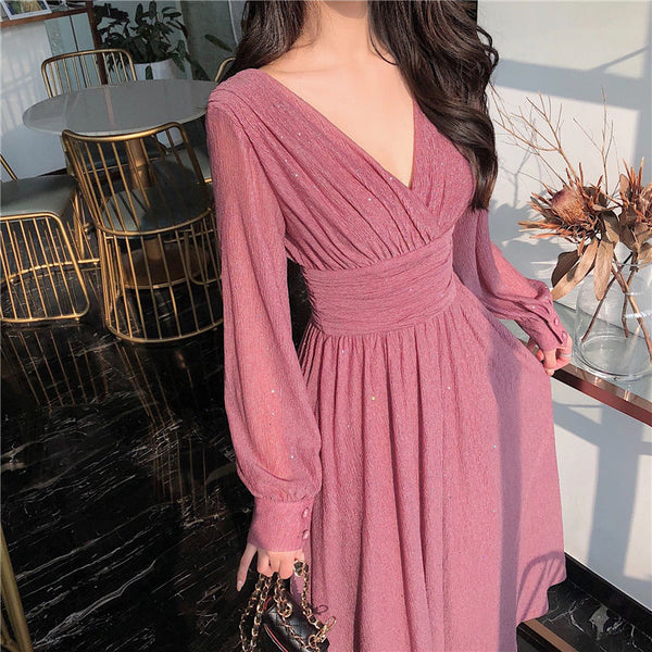 Women's Elegant Chiffon Sequin Party Dress