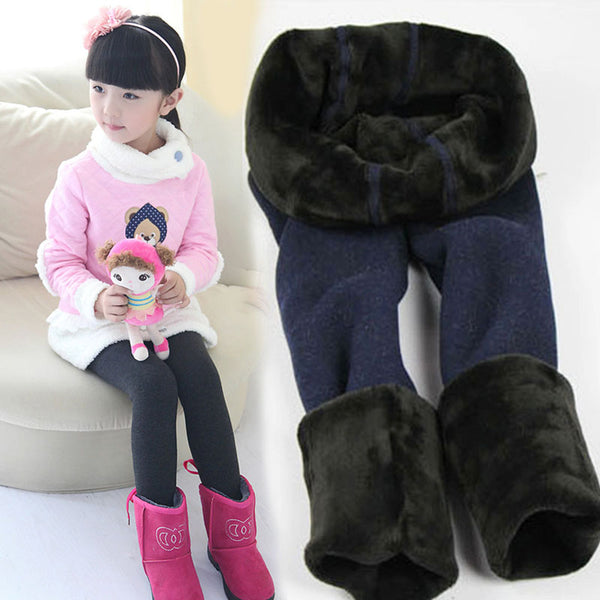 Kid's Girls High Quality Winter Fur Leggings