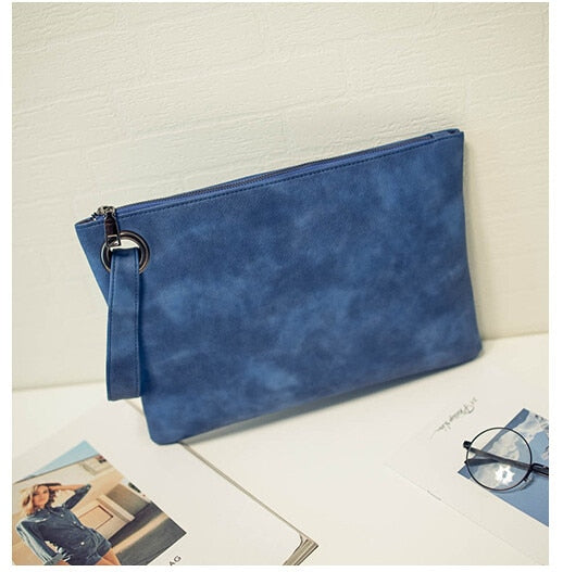 Women's Leather Clutch Envelope Handbag