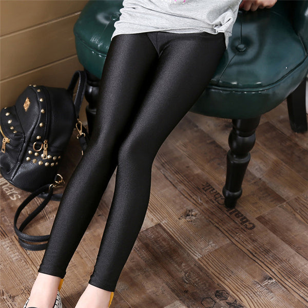 Kid's Girls Long Pants Shiny Leggings