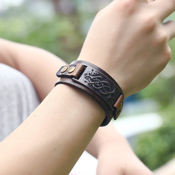 Men's Leather Biker Wrap Bracelet