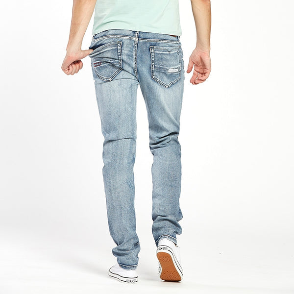 Men's Trendy Stretch Blue Grey Denim Slim Fit Jeans