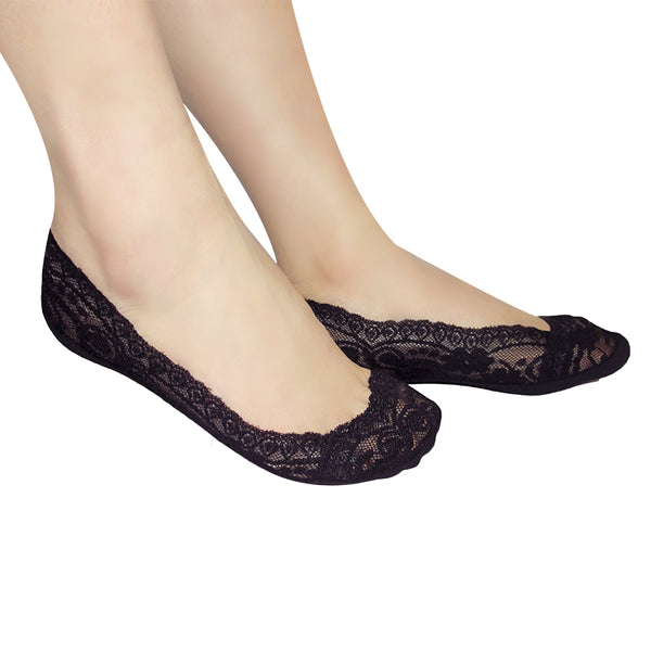 Women's Silica Gel Lace Invisible Boat Socks Three (3) Pairs