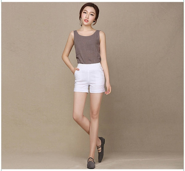 Women's Linen Shorts with Elastic Waist