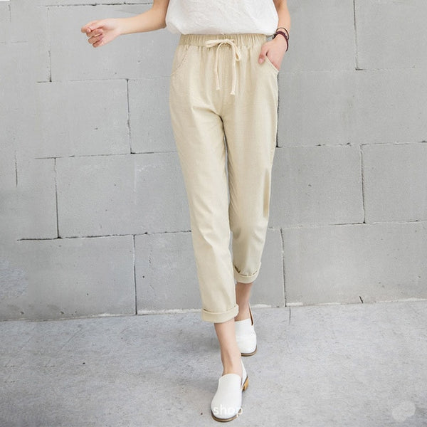 Women's Elastic Waist Cotton Linen Ankle Length Pants