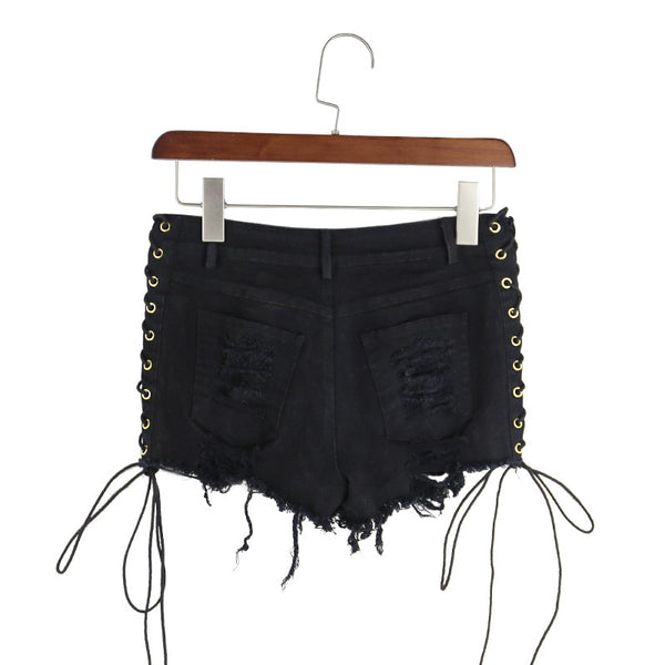 Women's Laced Denim Shorts