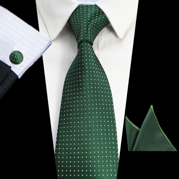 Men's Tie Set - Tie, Handkerchief and Cufflinks