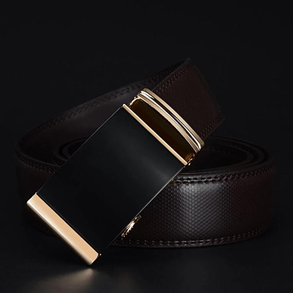 Men's Leather Gold Automatic Adjustment Buckle Belt