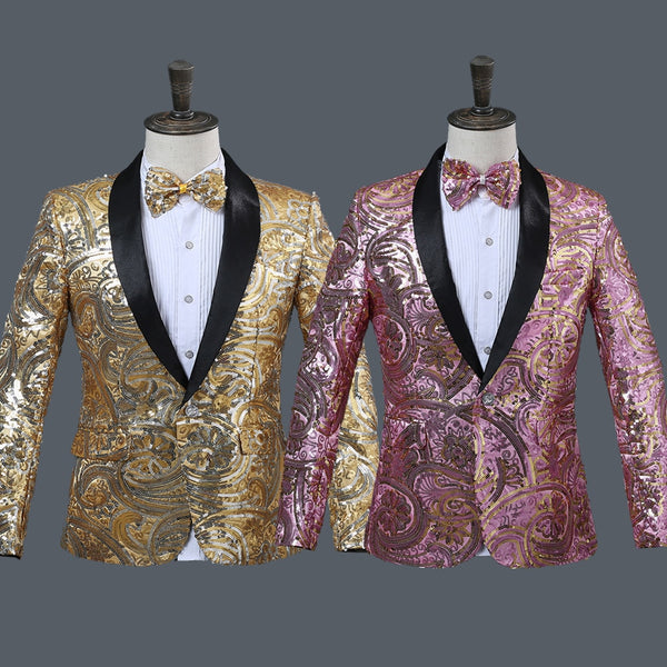 Men's Flower Sequins Fancy  Wedding Blazer with Bow Tie