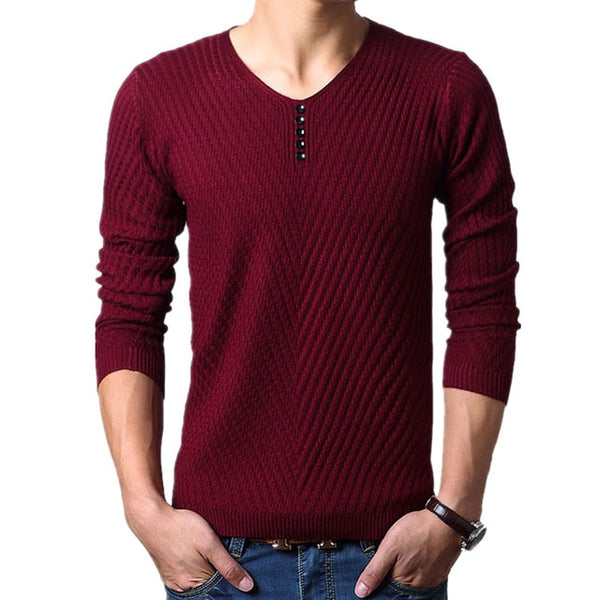 Men's V-Neck Button Henley Pullover Sweater