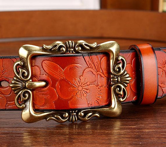 Women's Fashion Wide Genuine Leather Floral Belt