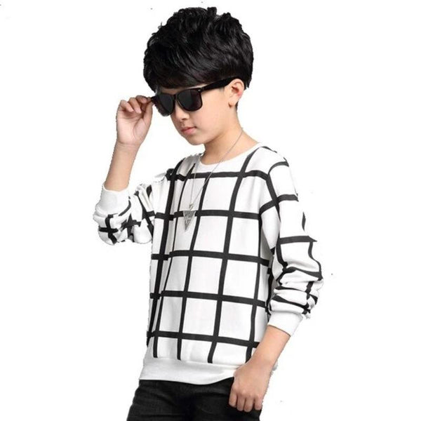 Boys Grid Pattern Pullover Sweater